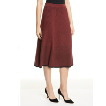 Lewit Womens Red Black Two-Tone Ribbed Wool Cashmere Sweater Skirt New L - $75.45