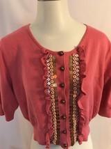 Ruby Rd. Pink Cardigan Sweater Cropped Embellishments Ruffles XL - $8.54