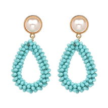 OIA blue beaded tear drop earrings  - $15.00