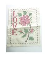 """Vintage Finished Cross Stitch """"Love"""" - $10.99"""