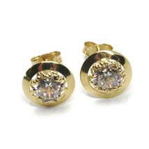 18K YELLOW GOLD BUTTON EARRINGS CUBIC ZIRCONIA, ROUND DISC WORKED FRAME, 10 MM image 1