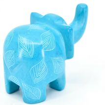 Vaneal Group Hand Crafted Carved Soapstone Sky Blue Elephant Figurine Made Kenya image 4