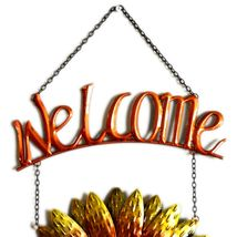 Metal & Glass Orange Yellow Fall Colors Hanging Sunflower Welcome Sign Decor image 3