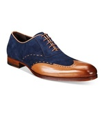 New Handmade mens wingtip Tan and Navy blue suede and leather formal shoes  - $149.99 - $159.99