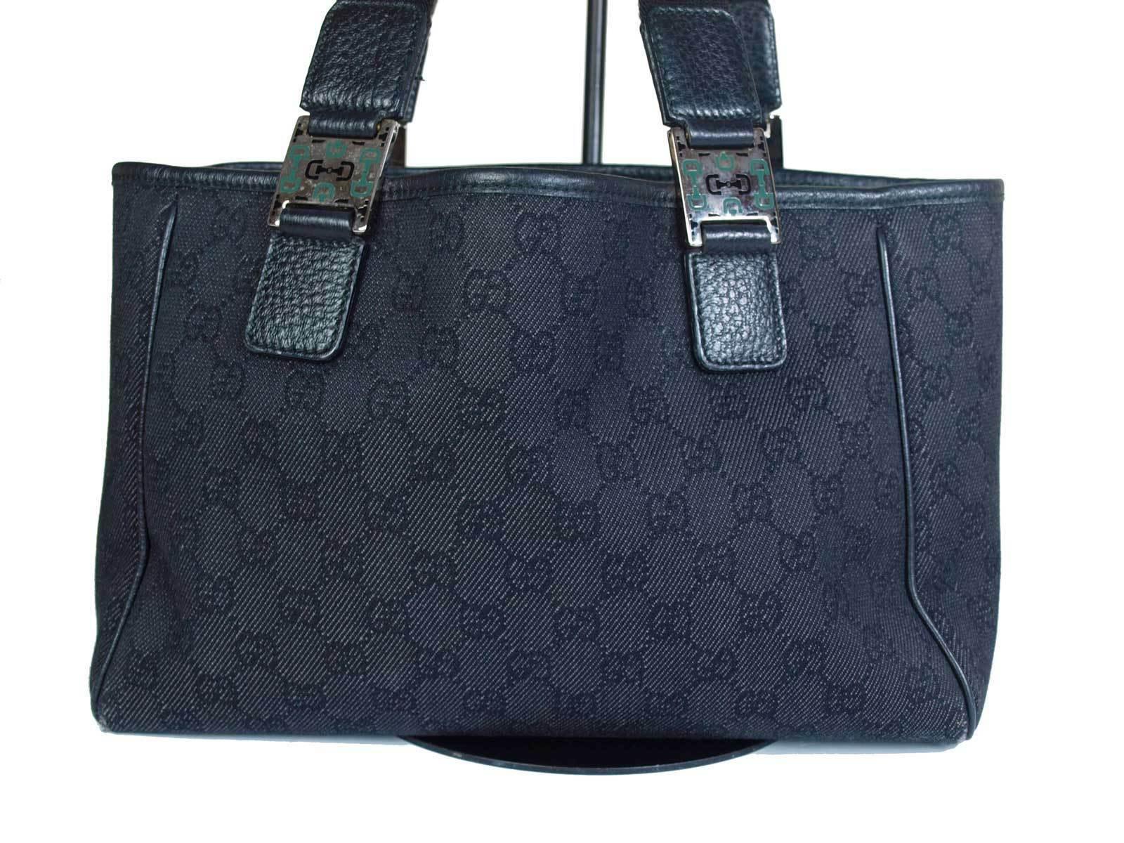 Authentic GUCCI GG Pattern Canvas Leather Black Shoulder Bag GS1865
