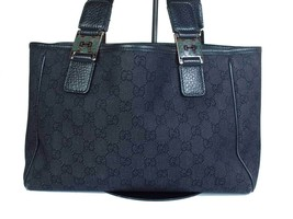 Authentic GUCCI GG Pattern Canvas Leather Black Shoulder Bag GS1865 - $189.00