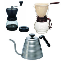 Hario Kettle, Drip Pot Woodneck and Coffee Mill - 3 Products Together - $112.86