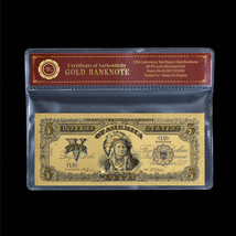 WR 1899 US $5 Gold Banknote Chief One Papa Indian Five Dollars 3D Gold /... - $5.00