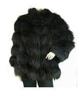 Manzari fur silver fox jacket incredible color! blue midnight size 40 - $1,579.12