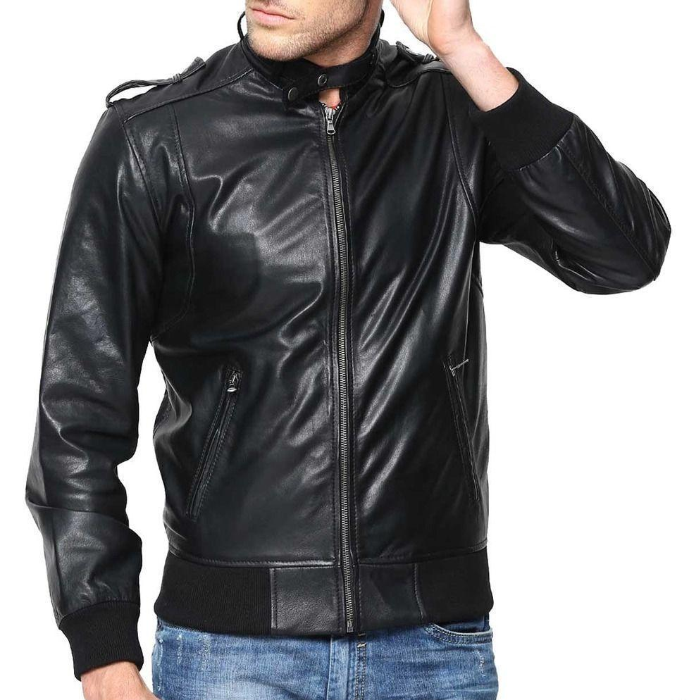 New Men's Stylish Lambskin Genuine Leather Motorcycle Biker Slim Fit Jacket  GN5