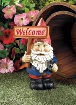 Charming Garden Gnome Holding Solar Welcome Sign Figurine Statue - $22.26