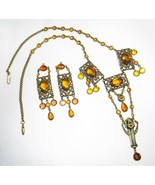 Estate Art Nouveau Brass Filigree Citrine Glass Earrings & Necklace Set ... - $231.14