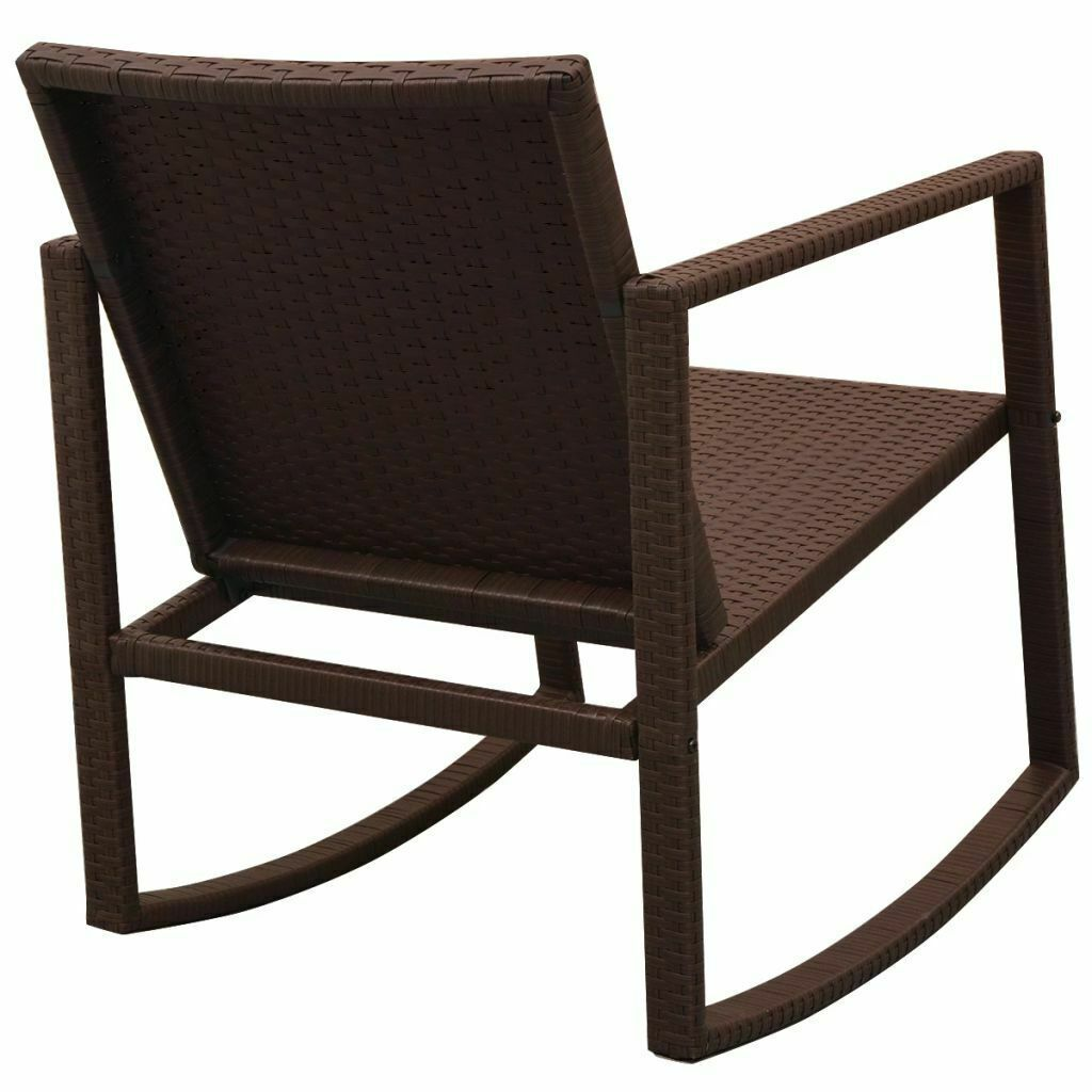 vidaXL Outdoor Rocking Chair Table 3 Piece Poly Rattan Brown Garden Furniture image 4