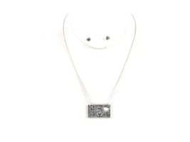 Silvertone Greatest Is Love Cutout Hearts Two Tone Necklace & Earring Set - $14.95