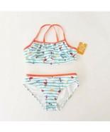 Gymboree Swim Suit Striped 2 Piece Tankini flamingo cats cute size 7-8 new - $20.74