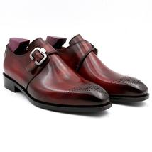Handmade Men's Maroon Leather Brogues Style Monk Strap Dress/Formal Shoes image 4
