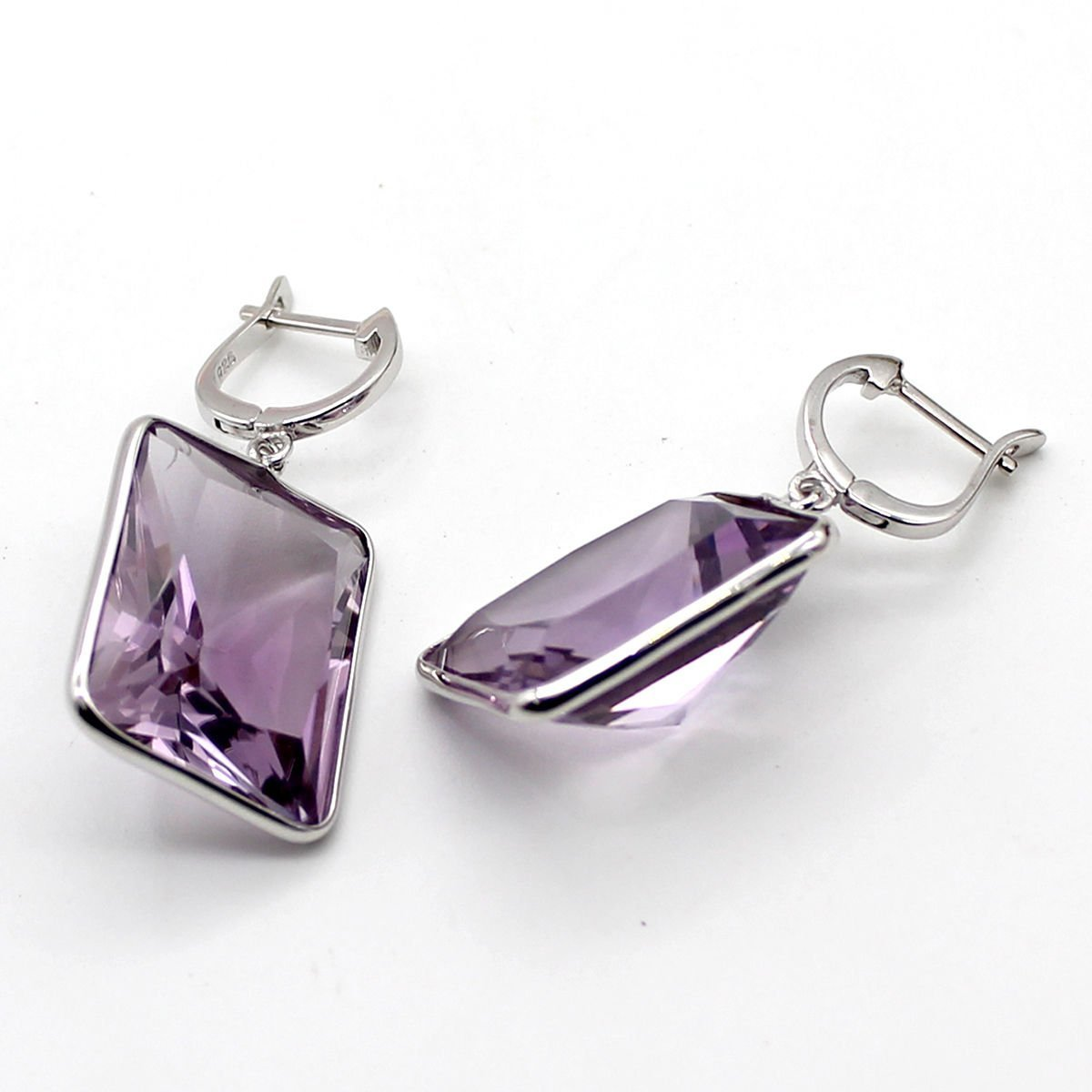 925 Solid Sterling Silver Genuine Amethyst Gemstone Handcrafted Women's Drop Ear