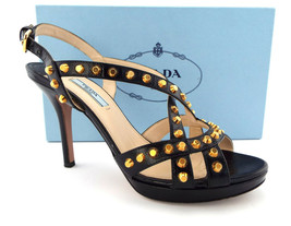 PRADA Size 8.5 Black Saffiano Gold Studded Strappy Heels Sandals Shoes 39 - $168.00