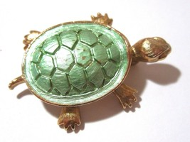 VINTAGE SHIMMERY GREEN ENAMEL ANIMAL TURTLE PIN BROOCH FIGURAL - $24.00