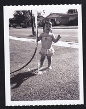 Antique Vintage Photograph Adorable Little Girl Squirting Water From Hos... - $5.35