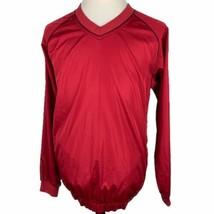FootJoy Golf V-Neck Pullover Jacket Large Red Black Long Sleeve Water Resistant - $39.50