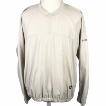 FootJoy V-Neck Pullover Golf Windbreaker Jacket Men's Large Beige Khaki Cream - $24.65