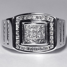 Mens Princess Diamond Pinky Ring 14K White Gold 1 Carat Custom Invisible... - $1,799.00