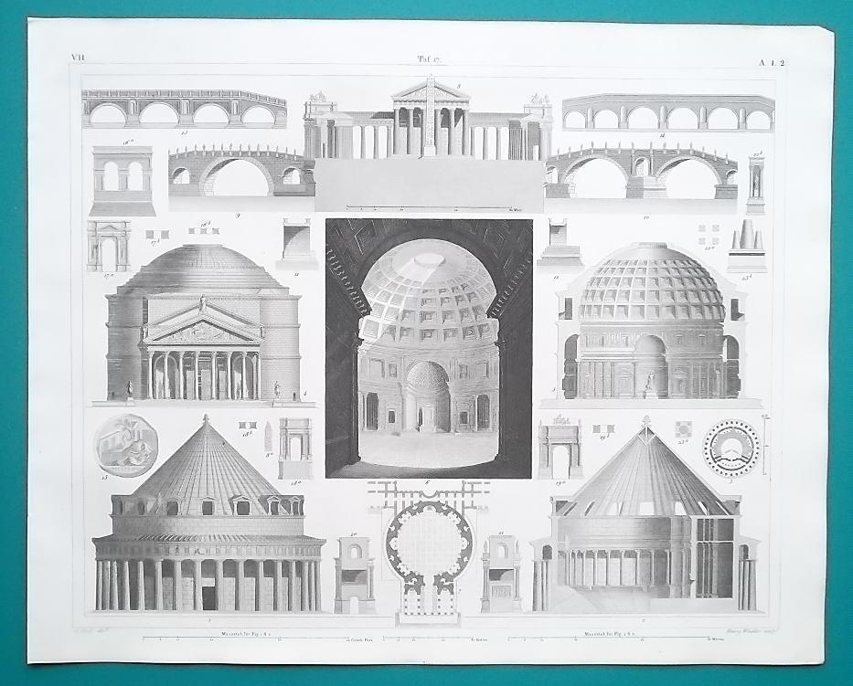 ARCHITECTURE Roman Italy France Palmyra Pantheon Tiber - 1844 Superb Print