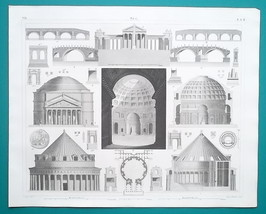ARCHITECTURE Roman Italy France Palmyra Pantheon Tiber - 1844 Superb Print - $25.20