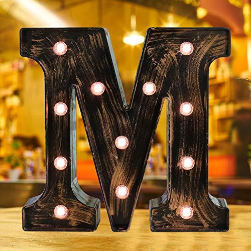 Industrial Style Light Up Letters: Golden Led Marquee Letter M