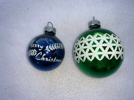 Vintage Lot Christmas Ornaments Rauch Ball Green Blue 32106 - $19.79