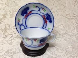 Antique,18th C, Rare, Adam & Co., Flow Blue, Floral Cup and Saucer - $31.30