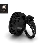 His and Her Matching Gothic Skull Engagement Ring Wedding Band Set Black... - $269.99