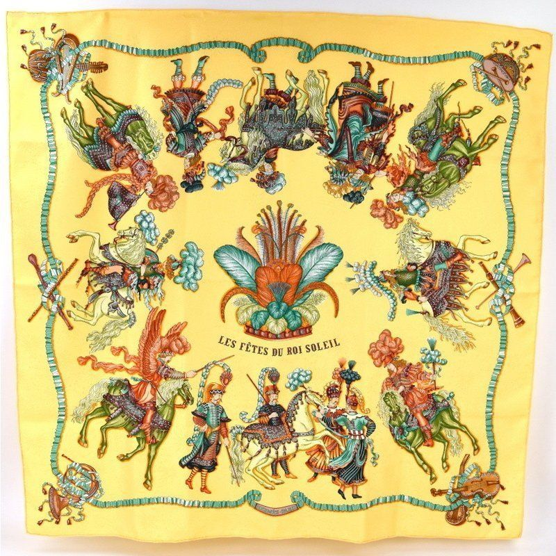 Primary image for Hermes Scarf LES FETES DU ROI SOLEIL 90 cm Silk Yellow Carre Shawl Stole 35""