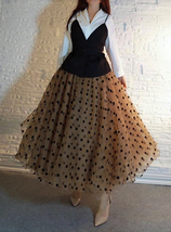 Full Long Tulle Skirt High Waisted Polka Dot Tulle Skirt Outfit Plus Size Puffy image 6