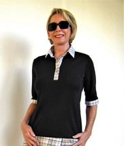 Stylish Golf/Casual Black Short Sleeve Collar Top with Swarovski Buttons  - $29.95