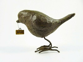 Small Decorative Standing Brown Bird Carved Resin With Metal WISH Charm ... - $19.78
