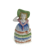 Vintage 1930s Porcelain Luster Figural Bell Colonial Girl Woman Made In ... - $23.23