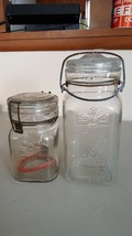 2 Vintage Clear Queen Wire Closure Jars - Glass Lids -Pint and Quart - $9.19