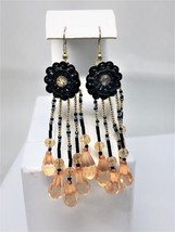 Vintage Dangling Sexy Black Pink Fish Hook Earrings - $14.40