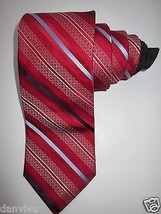 John W. Nordstrom Jacquard Tipping Woven Silk Neck Tie Red Navy 59x3.5  - $39.89