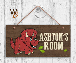 Red Dinosaur Sign, Personalized Sign, Kid's Name, Kids Door Sign, 5x10 Sign - $16.29