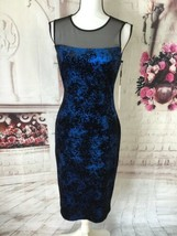 CALVIN KLEIN NWT ILLUSION METALLIC YOKE NOVELTY VELVET SHEATH DRESS BLUE... - $85.00