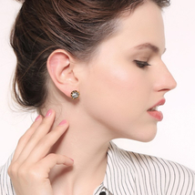 ummer 925 silver Crystal Antique Small Round Stud Earrings For Women Hol... - $4.97