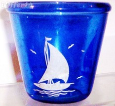 DEPRESSION GLASS-- HAZEL ATLAS RITZ BLUE RIMMED COCKTAIL MIXER PAIL SHIP... - $37.45
