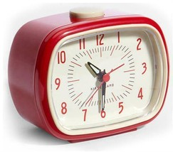 Retro Alarm Clock Red Kikkerland Battery Operated Glow In The Dark Hands - $14.45