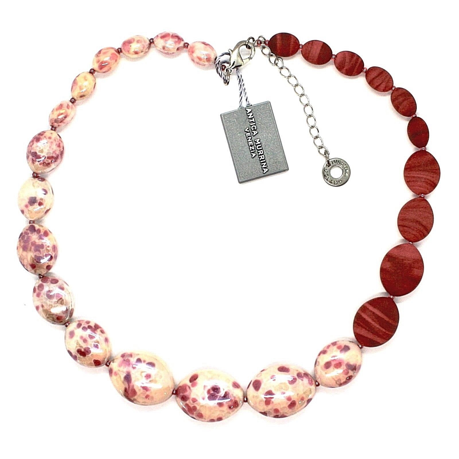 NECKLACE ANTICA MURRINA VENEZIA WITH MURANO GLASS RED BEIGE WHITE CO924A11