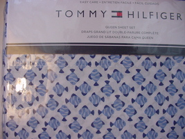 Tommy Hilfiger Blue and Navy Small Fish on White Sheet Set Queen - $56.00