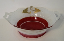 Art Deco Bowl Rare Moderne Classic Indiana No. 602 Red White - $78.00