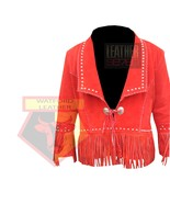 1059 RED SUEDE LEATHER AMERICAN STYLE FRINGED STUDDED TASSELED LEATHER J... - $198.99